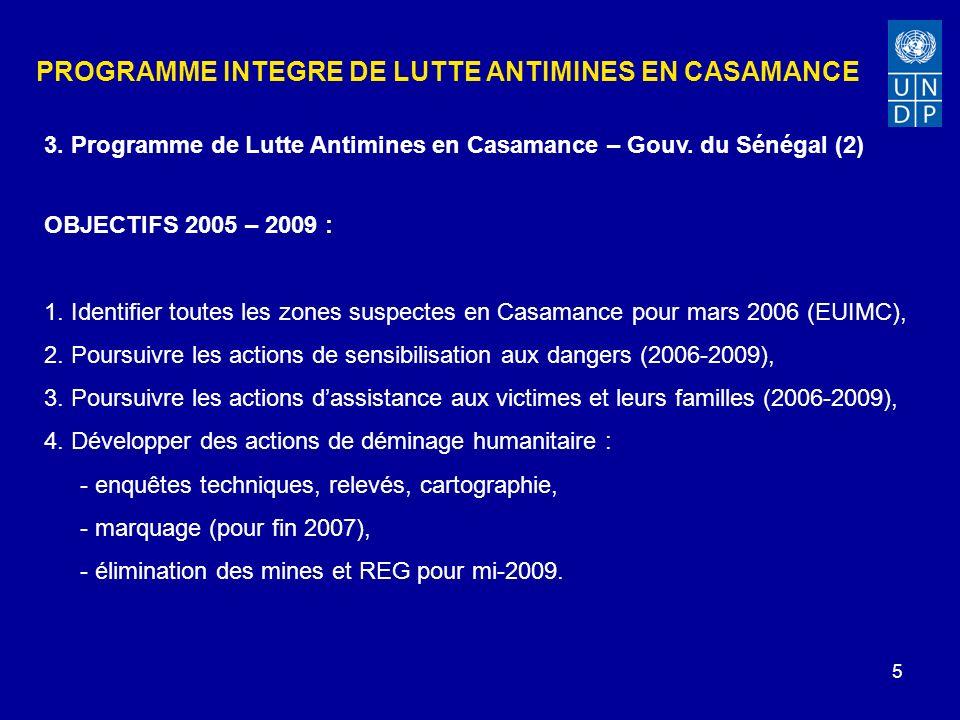 5 PROGRAMME INTEGRE DE LUTTE ANTIMINES EN CASAMANCE OBJECTIFS 2005 – 2009 : 1.
