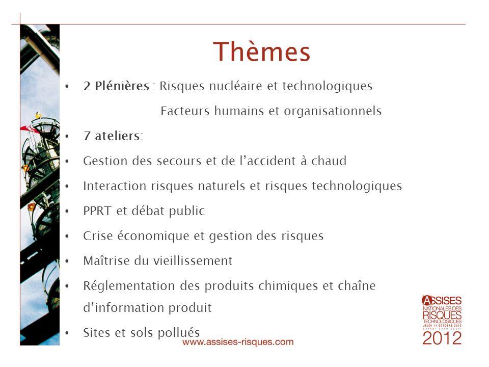 Thèmes 2 Plénières : Risques nucléaire et technologiques Facteurs humains et organisationnels 7 ateliers: Gestion des secours et de laccident à chaud