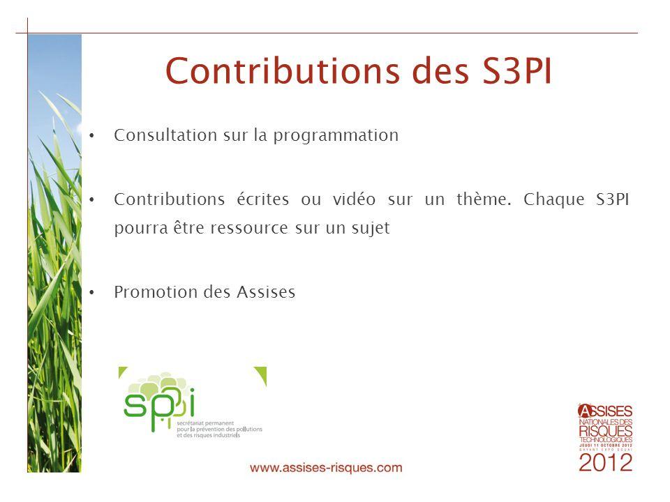 Contributions des S3PI Consultation sur la programmation Contributions écrites ou vidéo sur un thème. Chaque S3PI pourra être ressource sur un sujet P