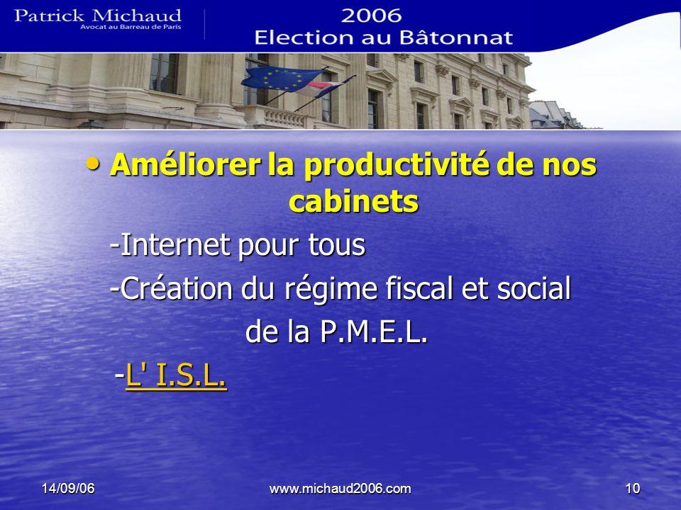 14/09/06www.michaud2006.com10 Améliorer la productivité de nos cabinets Améliorer la productivité de nos cabinets -Internet pour tous -Création du rég
