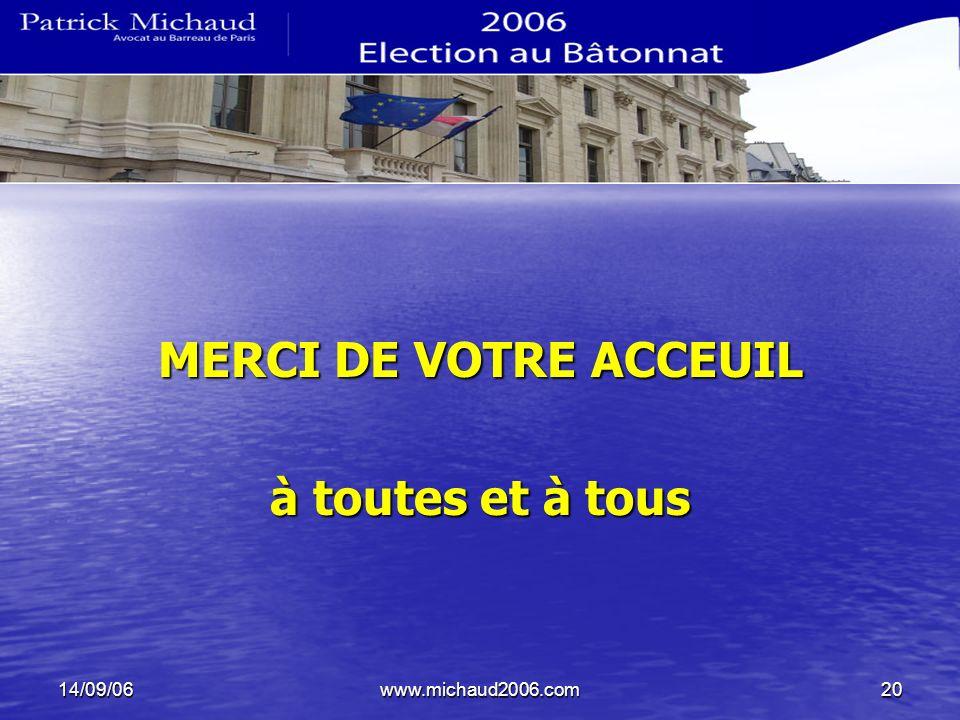 14/09/06www.michaud2006.com20 MERCI DE VOTRE ACCEUIL à toutes et à tous