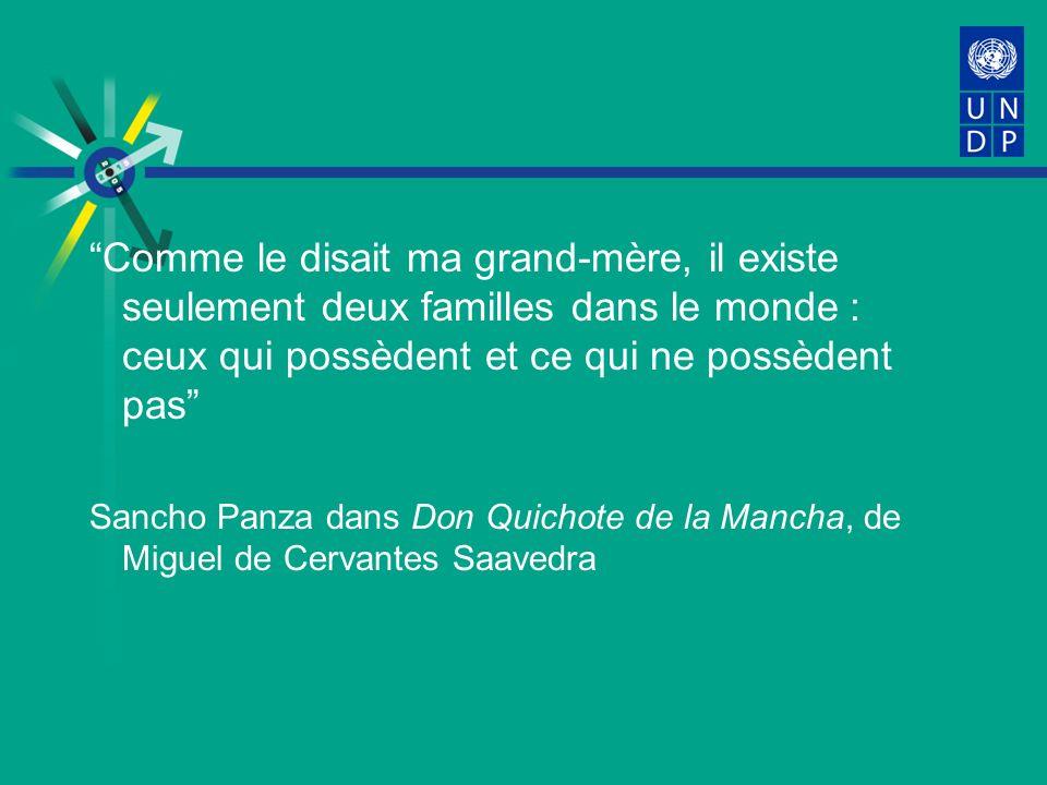 Comme le disait ma grand-mère, il existe seulement deux familles dans le monde : ceux qui possèdent et ce qui ne possèdent pas Sancho Panza dans Don Quichote de la Mancha, de Miguel de Cervantes Saavedra