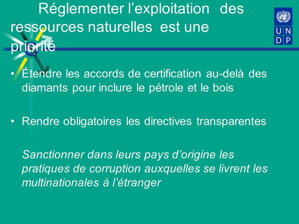 Réglementer lexploitation des ressources naturelles est une priorité Étendre les accords de certification au-delà des diamants pour inclure le pétrole et le bois Rendre obligatoires les directives transparentes Sanctionner dans leurs pays dorigine les pratiques de corruption auxquelles se livrent les multinationales à létranger