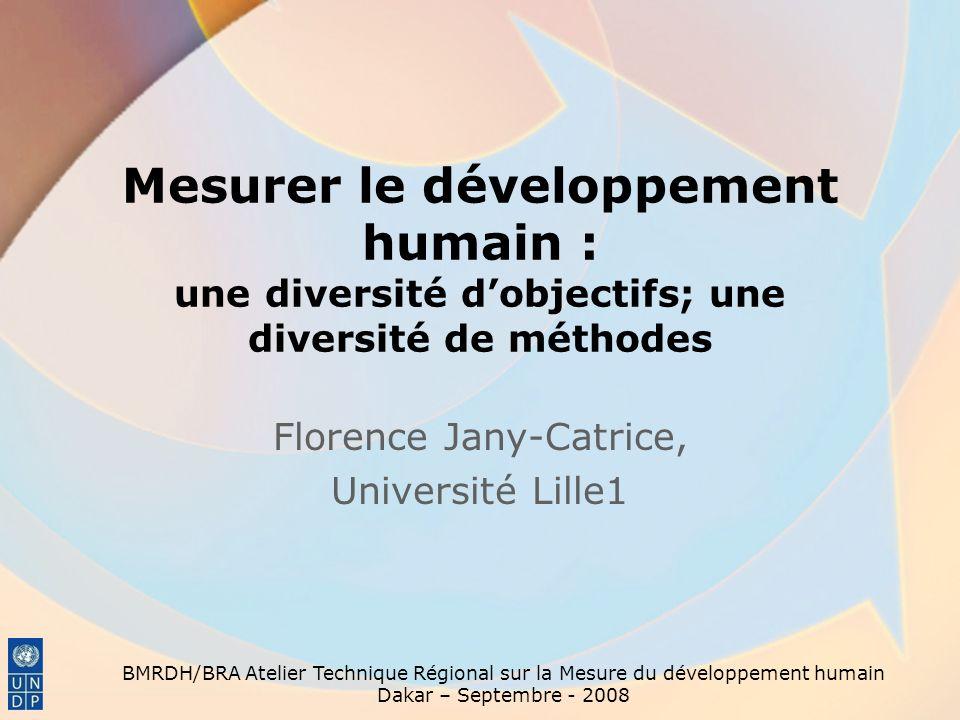 INTRODUCTION BMRDH/BRA Atelier Technique Régional sur la Mesure du développement humain Dakar – Septembre - 2008