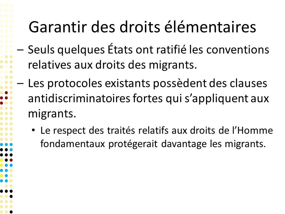 Garantir des droits élémentaires –Seuls quelques États ont ratifié les conventions relatives aux droits des migrants. –Les protocoles existants possèd
