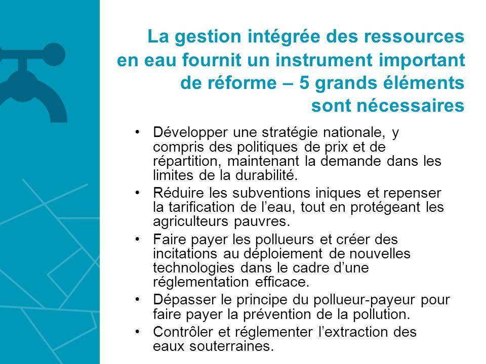 La gestion intégrée des ressources en eau fournit un instrument important de réforme – 5 grands éléments sont nécessaires Développer une stratégie nat