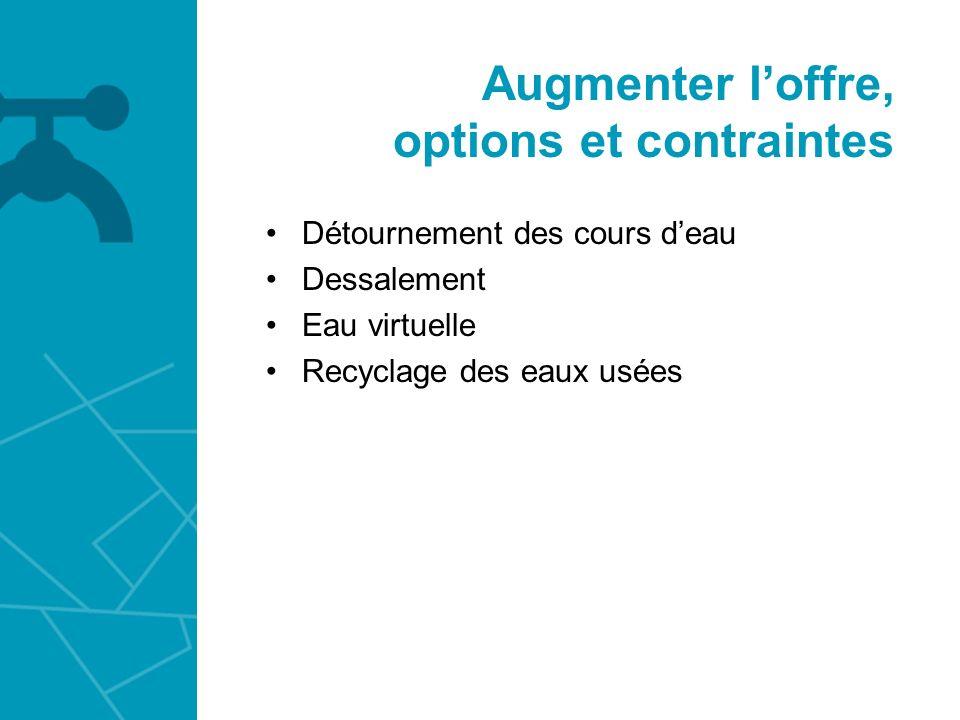 Augmenter loffre, options et contraintes Détournement des cours deau Dessalement Eau virtuelle Recyclage des eaux usées