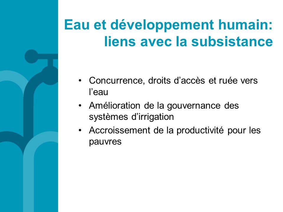 Eau et développement humain: liens avec la subsistance Concurrence, droits daccès et ruée vers leau Amélioration de la gouvernance des systèmes dirrig