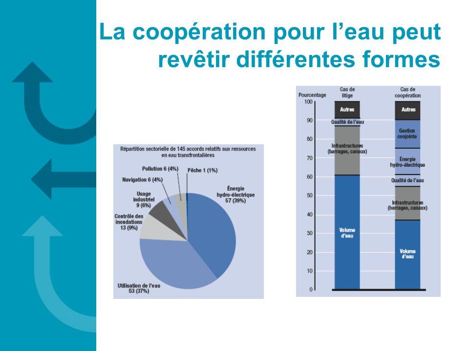 La coopération pour leau peut revêtir différentes formes