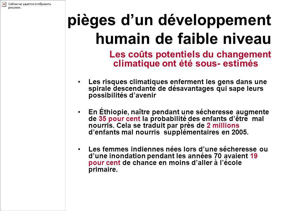Les pièges dun développement humain de faible niveau Les coûts potentiels du changement climatique ont été sous- estimés Les risques climatiques enfer
