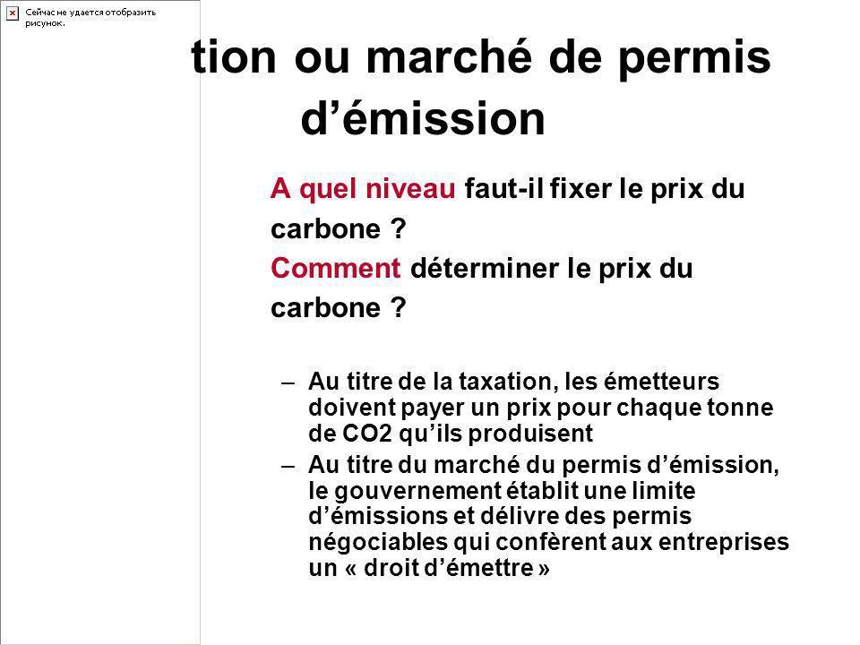 A quel niveau faut-il fixer le prix du carbone ? Comment déterminer le prix du carbone ? –Au titre de la taxation, les émetteurs doivent payer un prix