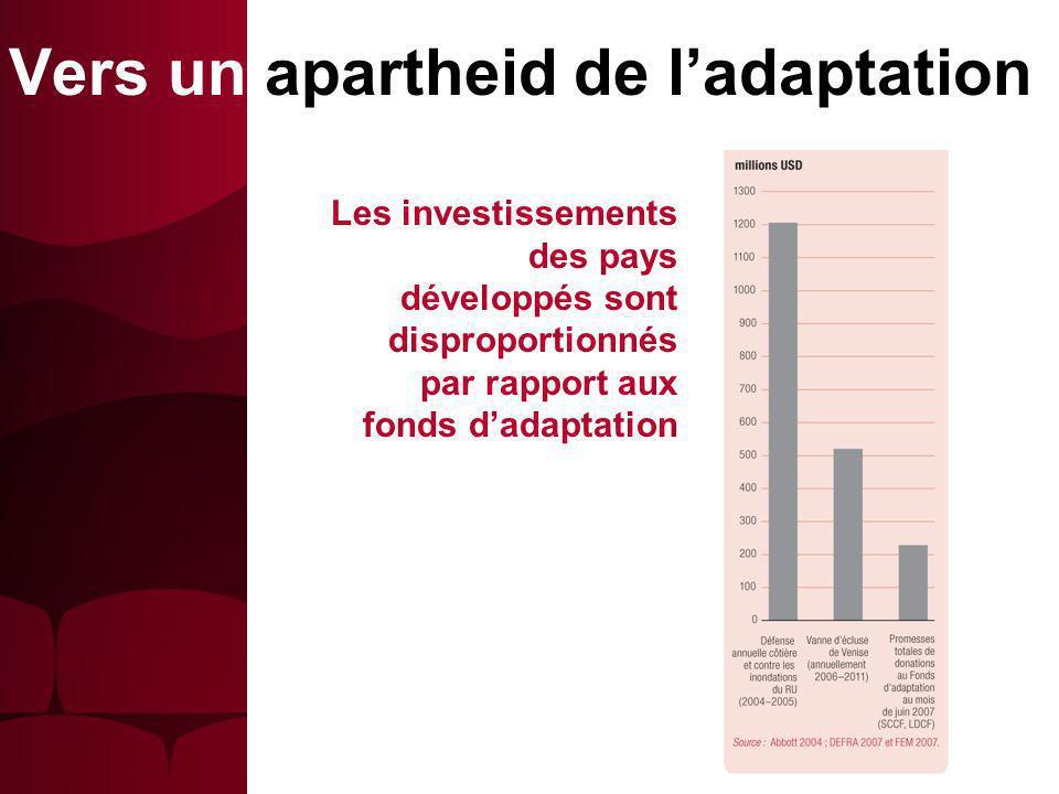 Les investissements des pays développés sont disproportionnés par rapport aux fonds dadaptation Vers un apartheid de ladaptation