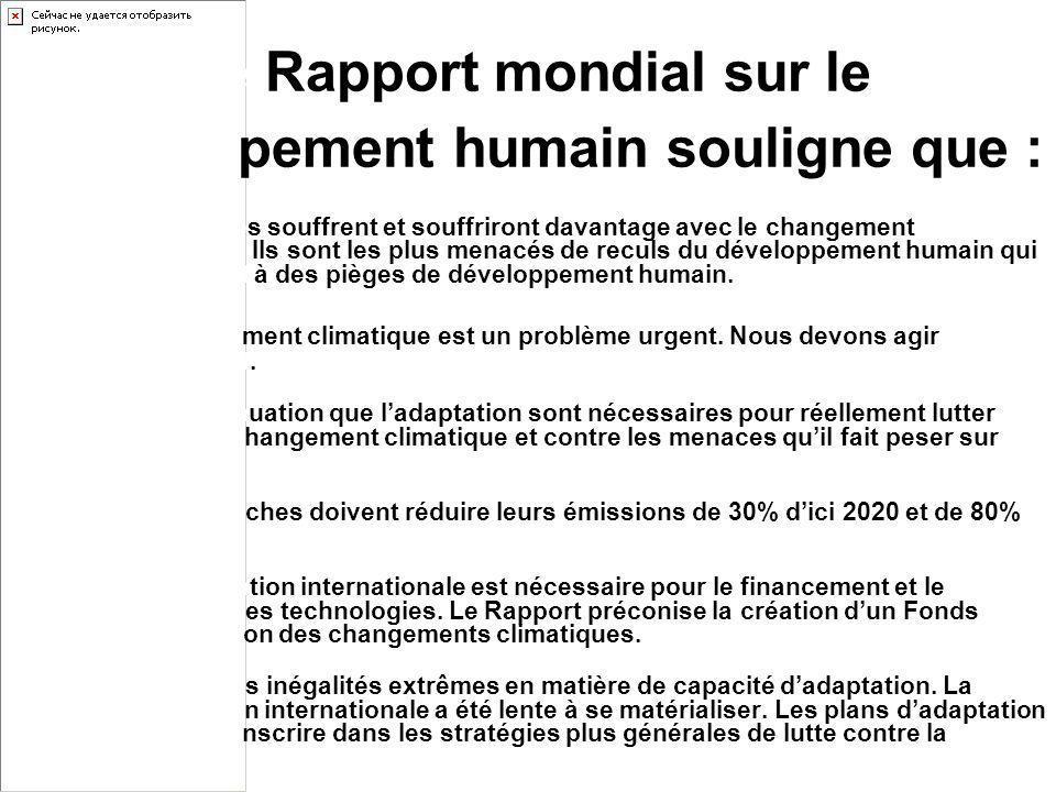 Le Rapport mondial sur le développement humain souligne que : Les pauvres souffrent et souffriront davantage avec le changement climatique. Ils sont l