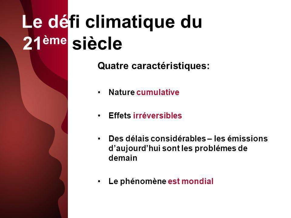 Le défi climatique du 21 ème siècle Quatre caractéristiques: Nature cumulative Effets irréversibles Des délais considérables – les émissions daujourdhui sont les problémes de demain Le phénomène est mondial