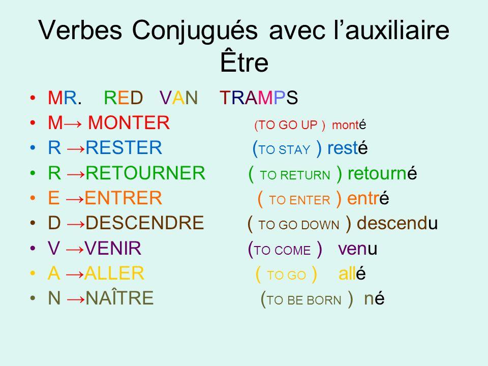 Verbes Conjugués avec lauxiliaire Être MR. RED VAN TRAMPS M MONTER (TO GO UP ) mont é R RESTER ( TO STAY ) resté R RETOURNER ( TO RETURN ) retourné E