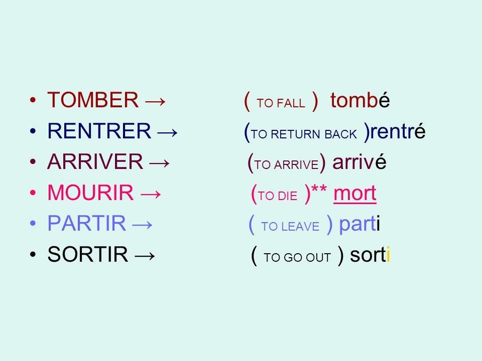 TOMBER ( TO FALL ) tombé RENTRER ( TO RETURN BACK )rentré ARRIVER ( TO ARRIVE ) arrivé MOURIR ( TO DIE )** mort PARTIR ( TO LEAVE ) parti SORTIR ( TO GO OUT ) sorti