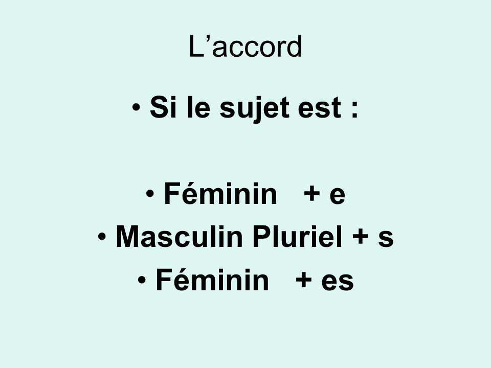 Laccord Si le sujet est : Féminin + e Masculin Pluriel + s Féminin + es