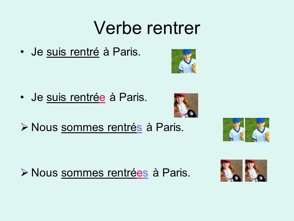 Verbe rentrer Je suis rentré à Paris. Je suis rentrée à Paris. Nous sommes rentrés à Paris. Nous sommes rentrées à Paris.