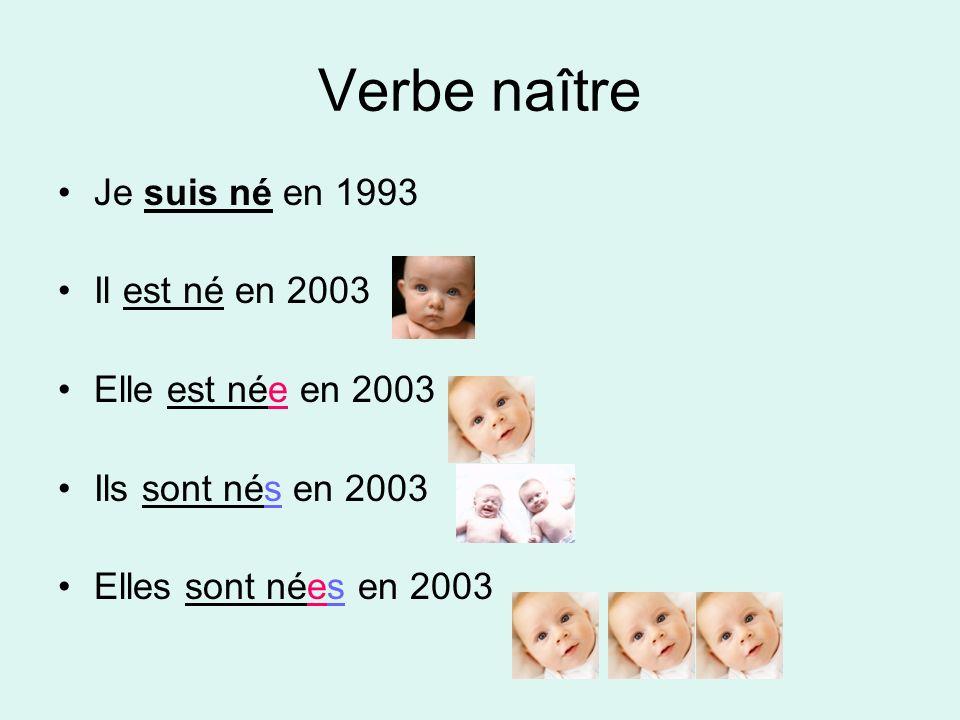 Verbe naître Je suis né en 1993 Il est né en 2003 Elle est née en 2003 Ils sont nés en 2003 Elles sont nées en 2003