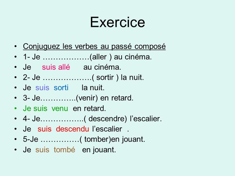 Exercice Conjuguez les verbes au passé composé 1- Je ………………(aller ) au cinéma.