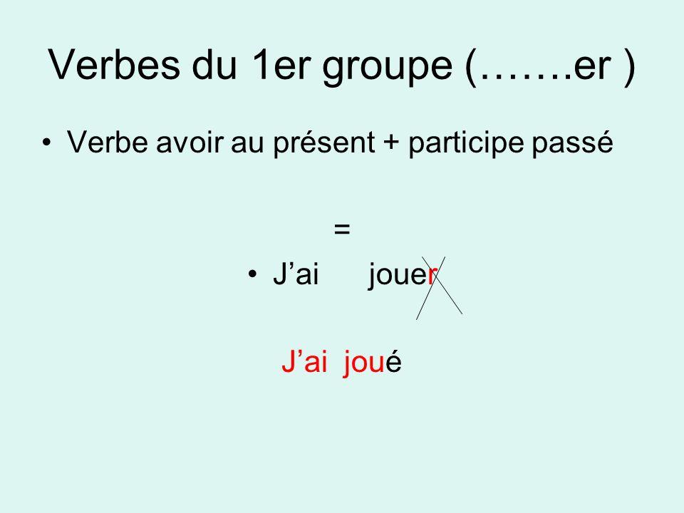 Verbes du 1er groupe (…….er ) Verbe avoir au présent + participe passé = Jai jouer Jai joué