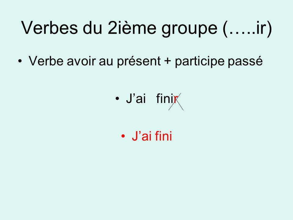 Verbes du 2ième groupe (…..ir) Verbe avoir au présent + participe passé Jai finir Jai fini