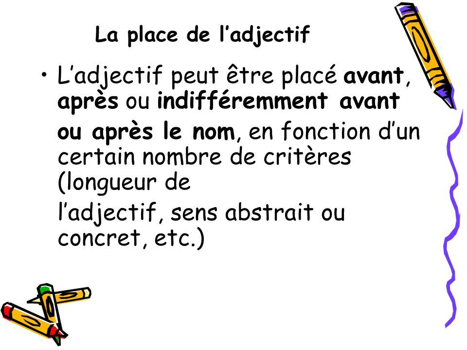 La place de ladjectif Ladjectif peut être placé avant, après ou indifféremment avant ou après le nom, en fonction dun certain nombre de critères (long