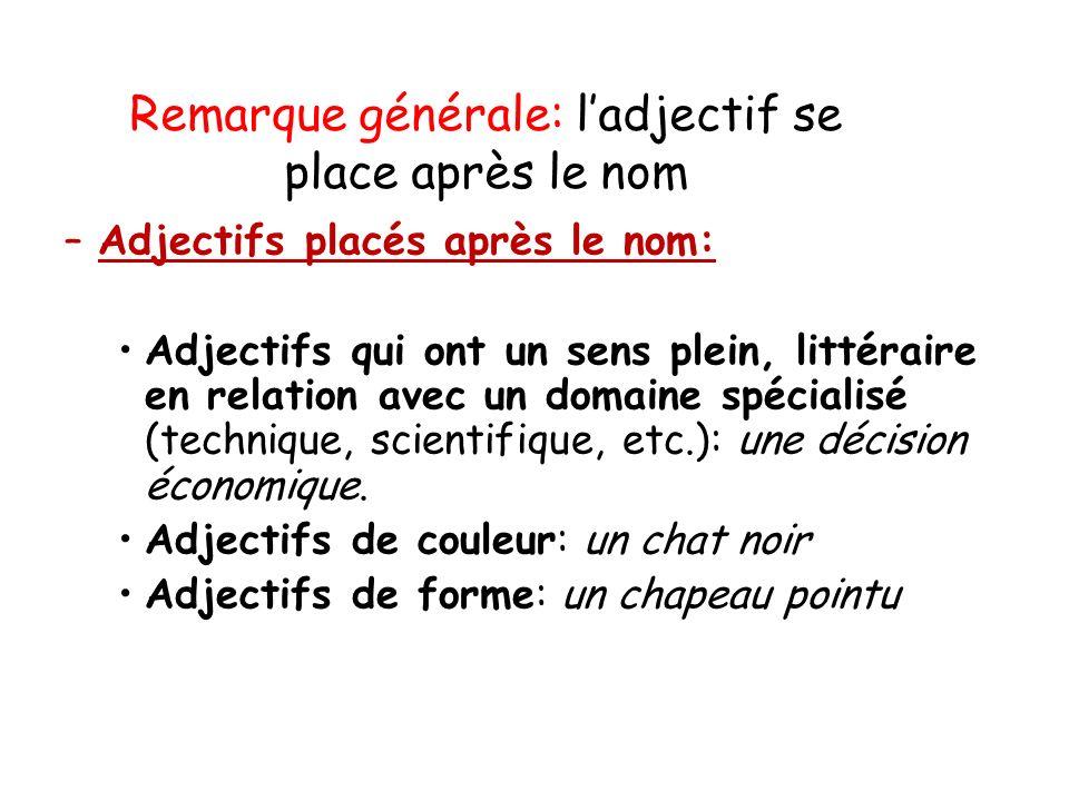 Remarque générale: ladjectif se place après le nom –Adjectifs placés après le nom: Adjectifs qui ont un sens plein, littéraire en relation avec un dom