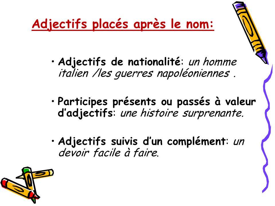 Adjectifs placés après le nom: Adjectifs de nationalité: un homme italien /les guerres napoléoniennes. Participes présents ou passés à valeur dadjecti