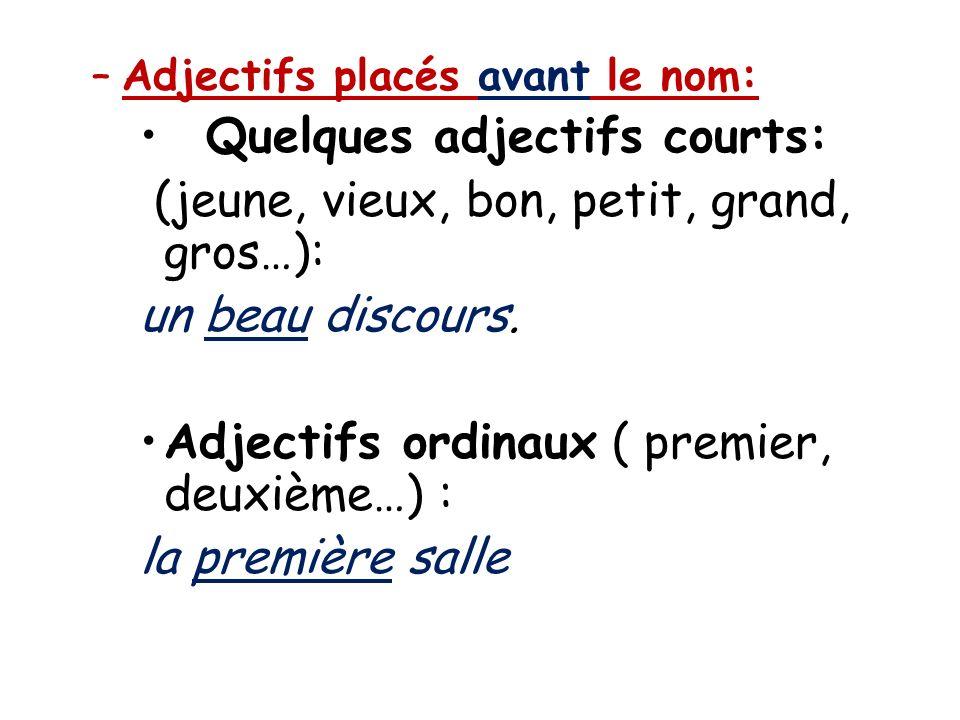 –Adjectifs placés avant le nom: Quelques adjectifs courts: (jeune, vieux, bon, petit, grand, gros…): un beau discours. Adjectifs ordinaux ( premier, d