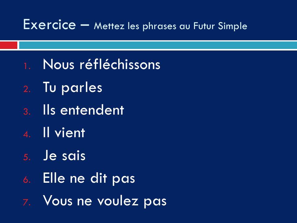 Exercice – Mettez les phrases au Futur Simple 1. Nous réfléchissons 2. Tu parles 3. Ils entendent 4. Il vient 5. Je sais 6. Elle ne dit pas 7. Vous ne