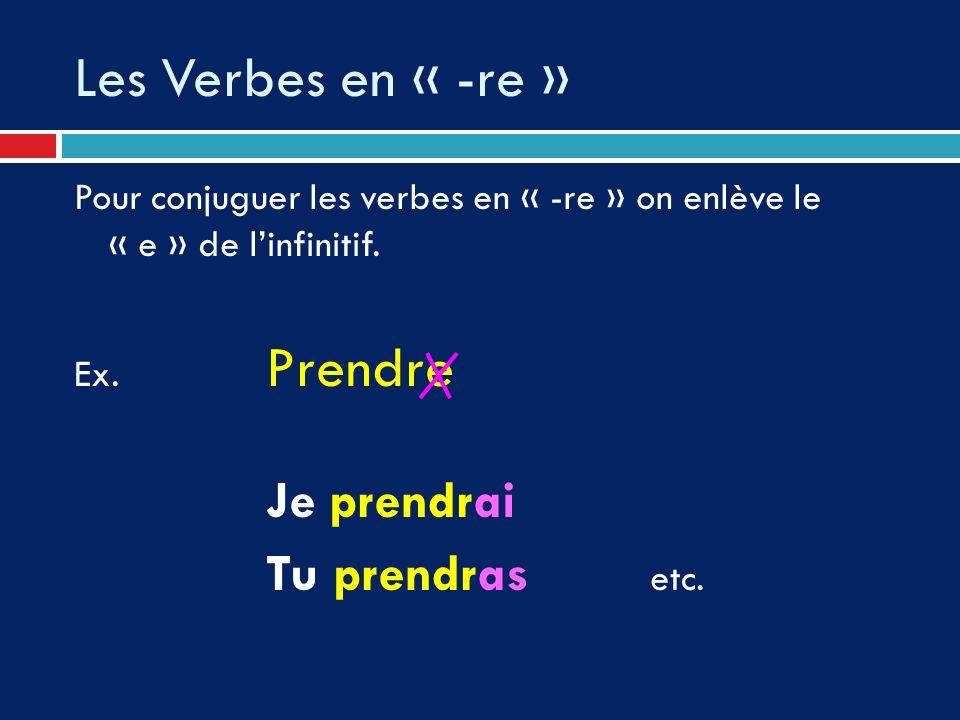 Les Verbes en « -re » Pour conjuguer les verbes en « -re » on enlève le « e » de linfinitif. Ex. Prendre Je prendrai Tu prendras etc.