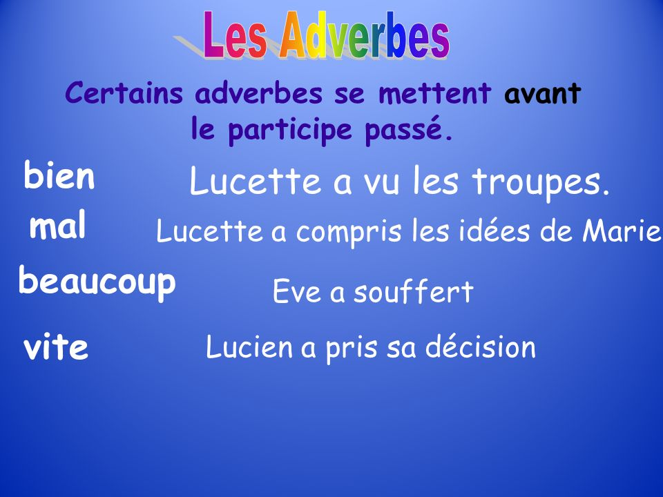 Most of the time, the adverb follows (comes after) the verb Example: Elle chante doucement.