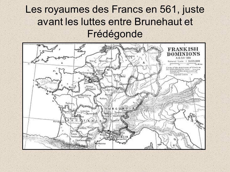 Les royaumes des Francs en 561, juste avant les luttes entre Brunehaut et Frédégonde