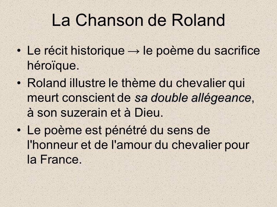 La Chanson de Roland Le récit historique le poème du sacrifice héroïque.