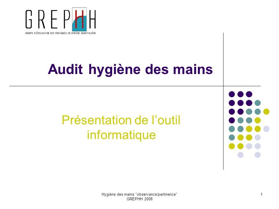 Hygiène des mains observance/pertinence GREPHH 2008 1 Audit hygiène des mains Présentation de loutil informatique