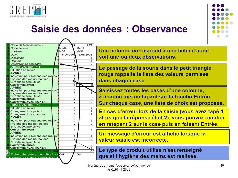 Hygiène des mains observance/pertinence GREPHH 2008 10 Saisie des données : Observance Une colonne correspond à une fiche daudit soit une ou deux observations.