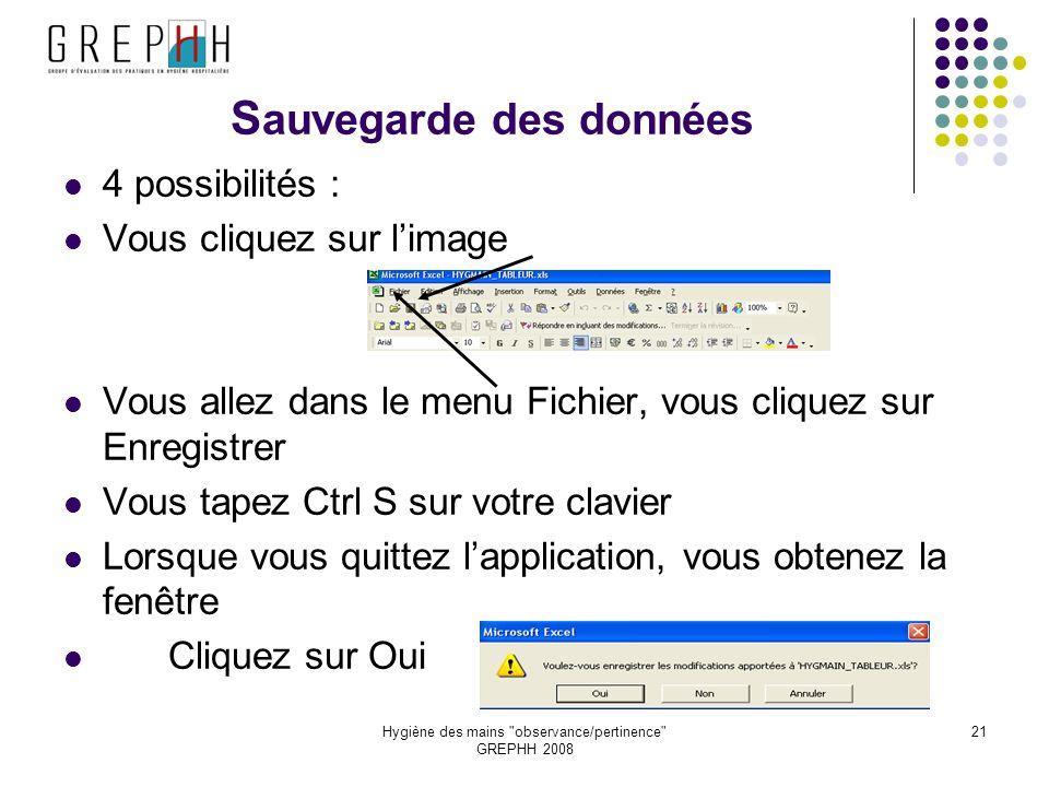 Hygiène des mains observance/pertinence GREPHH 2008 21 S auvegarde des données 4 possibilités : Vous cliquez sur limage Vous allez dans le menu Fichier, vous cliquez sur Enregistrer Vous tapez Ctrl S sur votre clavier Lorsque vous quittez lapplication, vous obtenez la fenêtre Cliquez sur Oui
