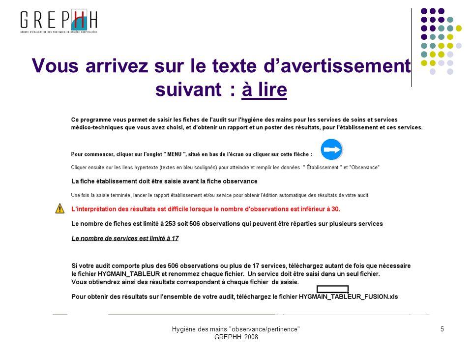 Hygiène des mains observance/pertinence GREPHH 2008 5 Vous arrivez sur le texte davertissement suivant : à lire