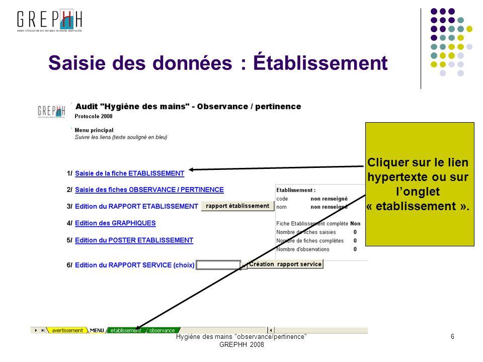 Hygiène des mains observance/pertinence GREPHH 2008 6 Saisie des données : Établissement Cliquer sur le lien hypertexte ou sur longlet « etablissement ».