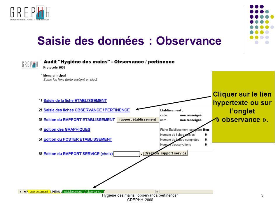 Hygiène des mains observance/pertinence GREPHH 2008 9 Saisie des données : Observance Cliquer sur le lien hypertexte ou sur longlet « observance ».