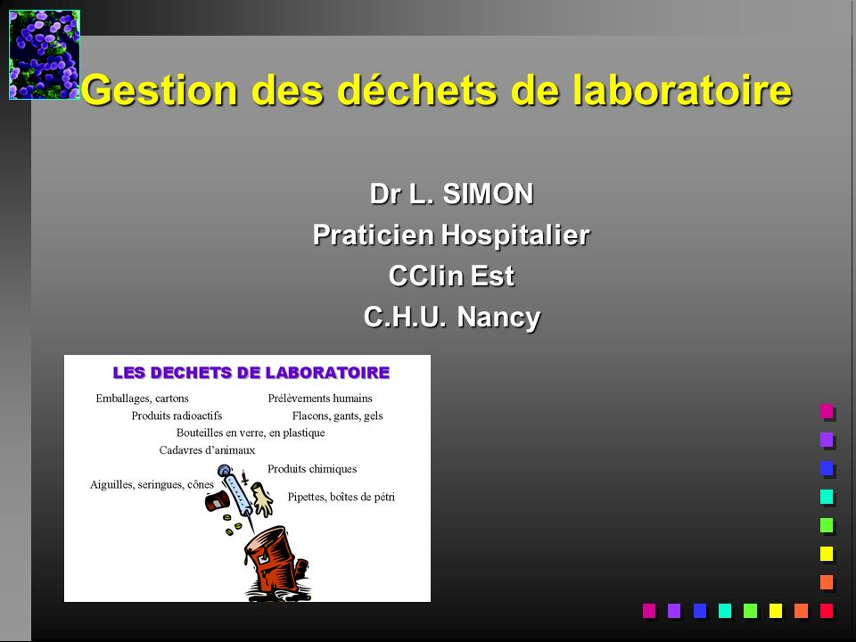 Gestion des déchets de laboratoire Dr L. SIMON Praticien Hospitalier CClin Est C.H.U. Nancy