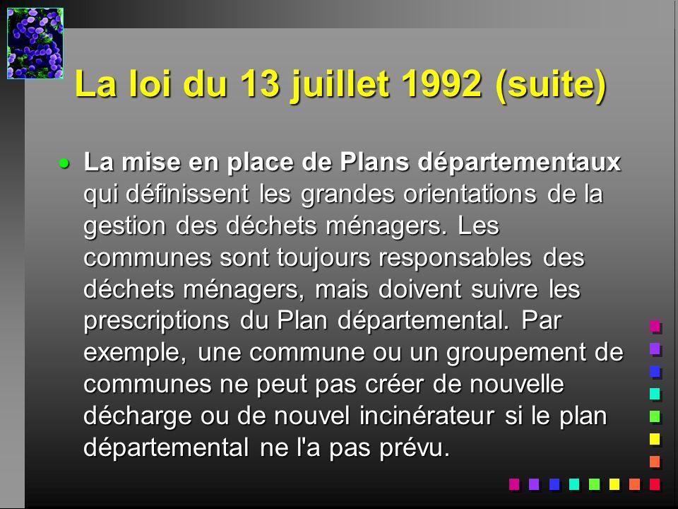 La loi du 13 juillet 1992 (suite) La mise en place de Plans départementaux qui définissent les grandes orientations de la gestion des déchets ménagers