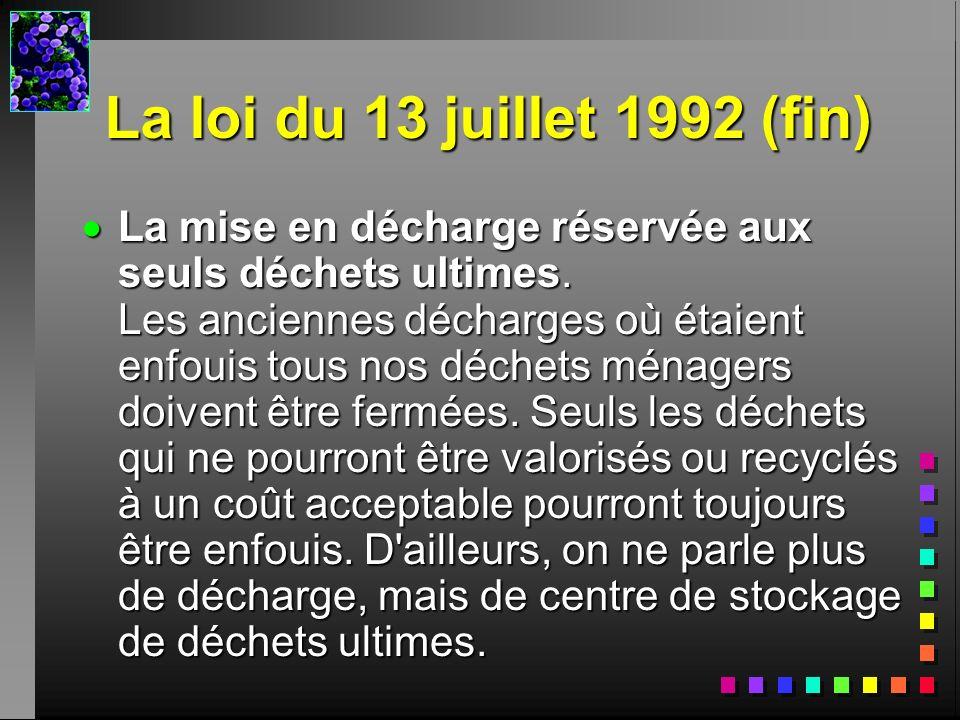 La loi du 13 juillet 1992 (fin) La mise en décharge réservée aux seuls déchets ultimes. Les anciennes décharges où étaient enfouis tous nos déchets mé