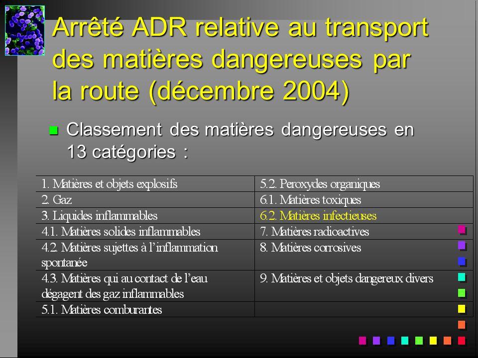Arrêté ADR relative au transport des matières dangereuses par la route (décembre 2004) n Classement des matières dangereuses en 13 catégories :