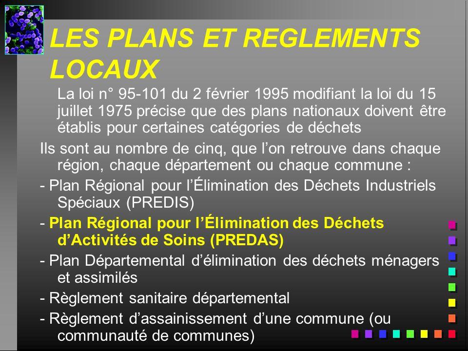 LES PLANS ET REGLEMENTS LOCAUX La loi n° 95-101 du 2 février 1995 modifiant la loi du 15 juillet 1975 précise que des plans nationaux doivent être éta