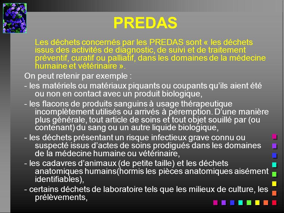 PREDAS Les déchets concernés par les PREDAS sont « les déchets issus des activités de diagnostic, de suivi et de traitement préventif, curatif ou pall