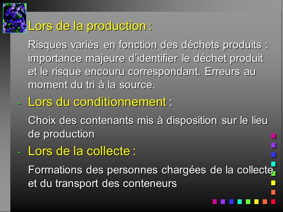 - Lors de la production : Risques variés en fonction des déchets produits : importance majeure didentifier le déchet produit et le risque encouru corr