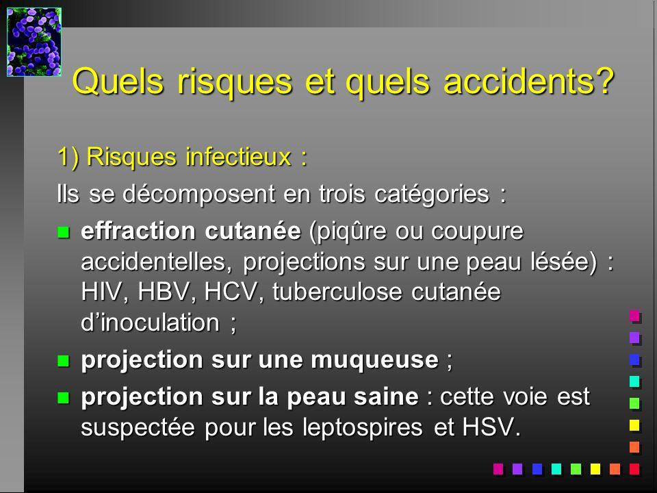 Quels risques et quels accidents? 1) Risques infectieux : Ils se décomposent en trois catégories : n effraction cutanée (piqûre ou coupure accidentell