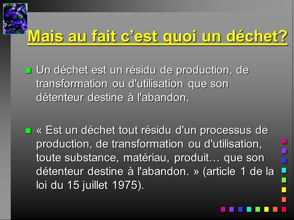 Mais au fait cest quoi un déchet? n Un déchet est un résidu de production, de transformation ou d'utilisation que son détenteur destine à l'abandon, n